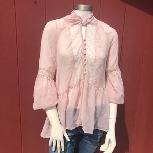 Free People Sheer Pink Flowy Long Sleeve Size L